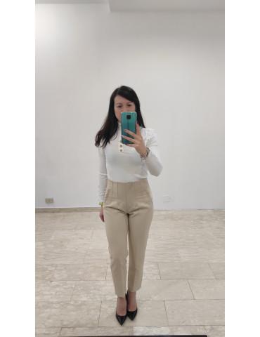 Pantalone sigaretta beige